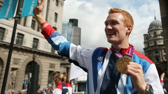 Rutherford pictured on the victory parade in London