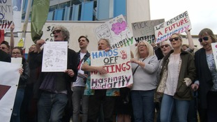 Students and locals protest in Hastings about campus 'closure plans'