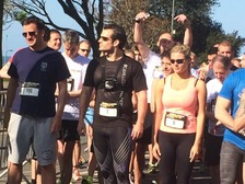 Henry Cavill joins other runners on the start line