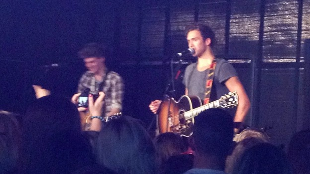 Joel and Andy on stage at Newcastle College