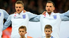 Jamie Vardy (left) and Daniel Drinkwater before the International Friendly match at Wembley Stadium, London.