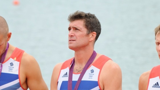 Greg Searle at his medal ceremony at the London 2012 Olympics.