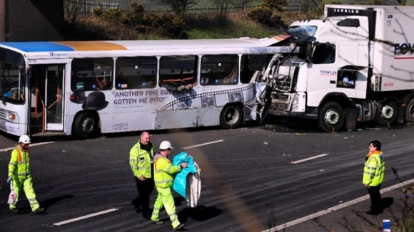 Man killed after lorry and coach crash on M5