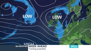 Low pressure from the Atlantic brings a more unsettled mix from late Tuesday.  A change to the feel of our weather from midweek onwards