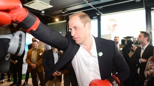 The Duke of Cambridge spars with former boxer Duke McKenzie