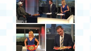 Behind the scenes at ITV West Country: a World Champion pops in