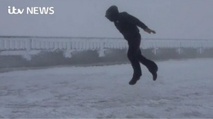 Man blown through the air by 109 mph winds