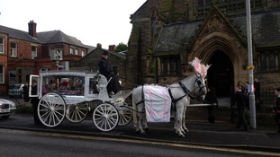 Lia Green's coffin arrives at the English Martyrs' Catholic Church