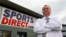 Sports Direct owner Mike Ashley outside of the company's warehouse in Shirebrook in Derbyshire.