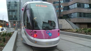 One of the new fleet of trams in Birmingham City Centre