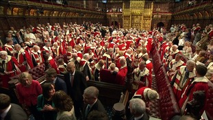 The Lords filed out ahead of a debate session in Parliament.