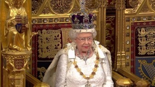 The Queen in the House of Lords during her speech.