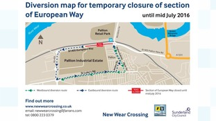 Diversions in place as work on new Wear Crossing continues