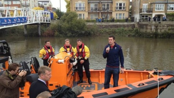 Olympic rower Greg Searle naming Thames's new lifeboat.