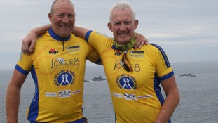 Vincent Kelly (left) and Mark Brocklehurst (right) at the end of the JOGLE8 challenge in aid of Bolton Lads & Girls Club