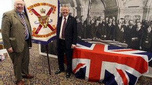 Drew Nelson (right) Orange Order Grand Secretary,with Rev Mervyn Gibson, Grand Chaplin