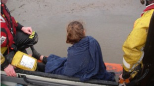 Morecambe lifeboat crew rescue girl trapped in mud