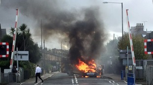 A Zafira in flames.