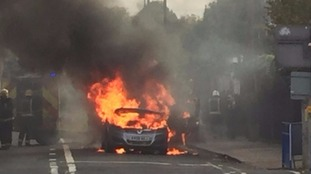 A Zafira which went up in flames in west London.