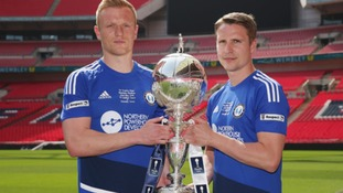 Halifax duo Jordan Burrow and Nicky Wroe with The FA Trophy