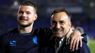 Sheffield Wednesday manager Calos Carvalhal (right) with Daniel Pudil as they celebrate after the final whistle during the Sky Bet Championship play off, second leg match at the AMEX Stadium, Brighton.