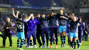 Sheffield Wednesday celebrate after the final whistle during the Sky Bet Championship play off, second leg match at the AMEX Stadium, Brighton.