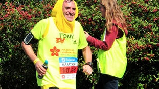 British actor Tony Audenshaw (left) dressed as a banana during the Marathon