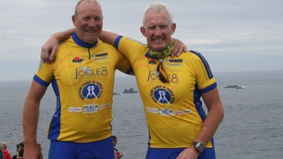 Vincent Kelly (left) and Mark Brocklehurst (right) at the end of the JOGLE8 challenge in aid of Bolton Lads & Girls Club Credit