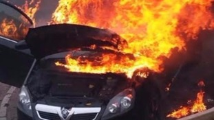 One of the faulty Vauxhall Zafira bursts into flames