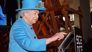 The Queen sends the first royal tweet under her own name at the Science Museum in 2014