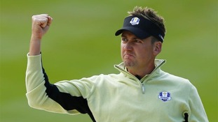 Team Europe golfer Poulter celebrates