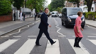 Cameron and Jowell try to recreate famous Beatles cover