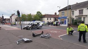 The accident scene in Norwich