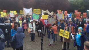 Protests outside the meeting in North Yorkshire
