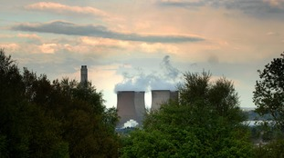 General view of Rugeley Power Station and the sunset over Etching Hill, Staffordshire