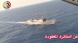 An Egyptian military ship searches for wreckage from the crashed plane