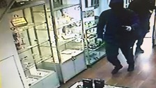 Three men wearing ski masks stole cash and jewellery from the jeweller in Bolton