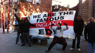 EDL supporters start to arrive in Walsall