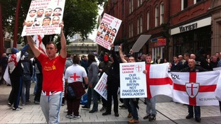 EDL protesters in Walsall town centre