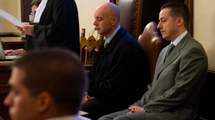 Pope Benedict's former butler Paolo Gabriele (right) at the start of his trial at the Vatican.