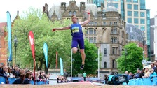 Greg Rutherford breaks the CityGames record in Manchester last night.