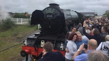 Thousands line the route to see the Flying Scotsman