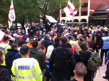 EDL march arrives at the Coventry council hall.