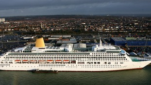 P&O Cruise Liner 'Aurora' in Southampton Docks, Hampshire.