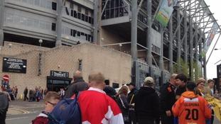 Rugby league fans arrive at St James' Park