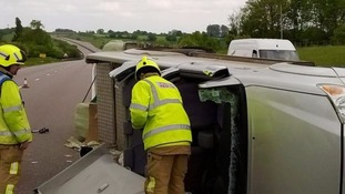 The car towing a trailer overturned yesterday.