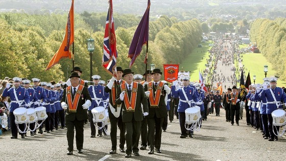 Orange Order members arrived at Stormont in Belfast.
