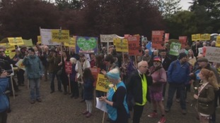 Opponents of fracking gathered outside County Hall on Friday
