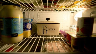 The inside of a fridge