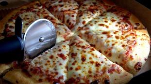 A cheesy pizza